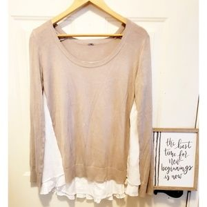 🎉Chan Luu Knit Overlay Tan & White Sweater🎉